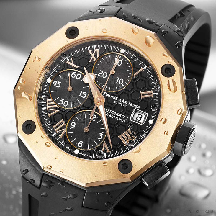 Baume & Mercier Riviera Chronograph - Red gold/rubber XXL